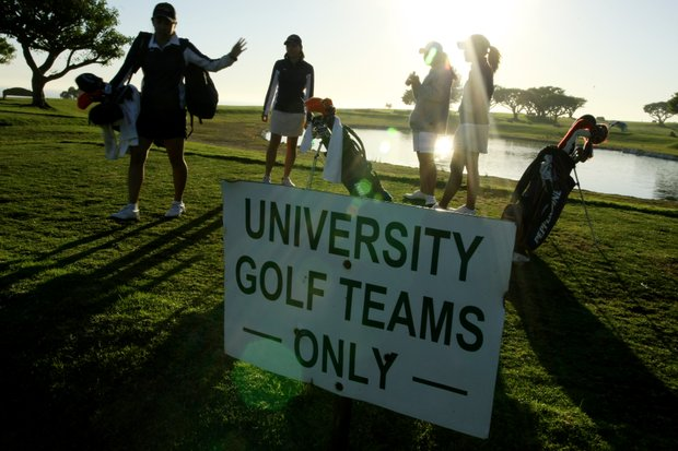 The women's golf team at Pepperdine University has a specified area at the base of campus that allows players to work on their short game, putting and even hit drivers toward the Pacific Ocean.