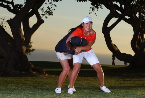Danielle Kang, right, and Grace Na are best friends and teammates on the women's golf team at Pepperdine.