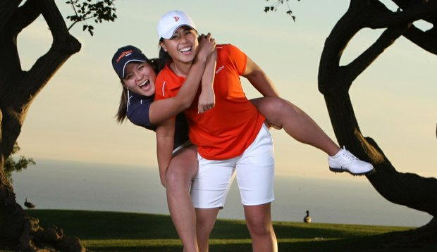 Danielle Kang, right, and Grace Na are best friends on the women's golf team at Pepperdine University in Malibu. Both Kang and Na left high school early to attend Pepperdine.