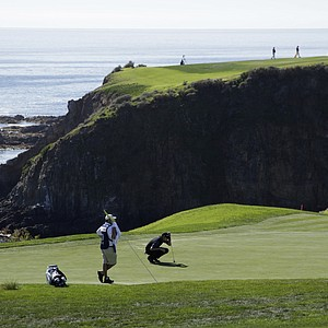 Jimmy Walker lines up a putt during Round 3 of the Pebble Beach National Pro-Am.