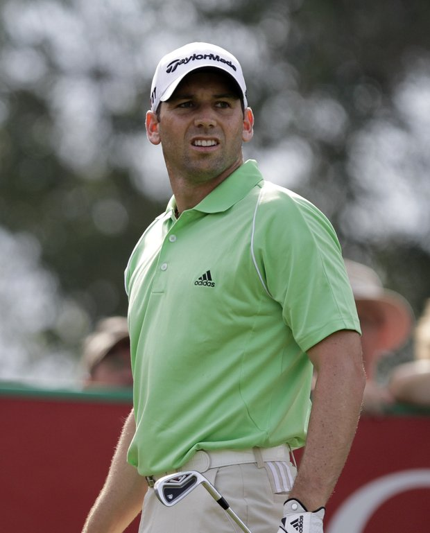Sergio Garcia watches a shot during Round 3 of the Dubai Desert Classic.