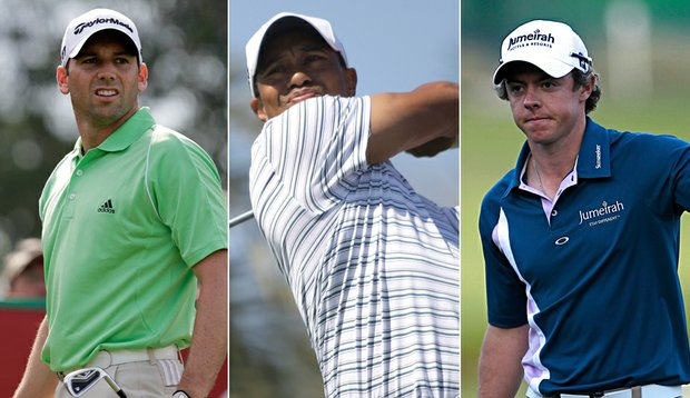 Sergio Garcia, Tiger Woods and Rory McIlroy