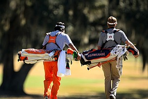 Florida's Phillip Choi and Auburn's Niclas Carlsson, during the final round of the SunTrust Gator Invitational.