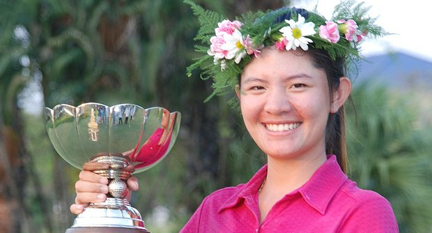 Tanaporn Kongkiatkrai celebrates her dramatic victory in the 2011 Thailand Ladies Open.