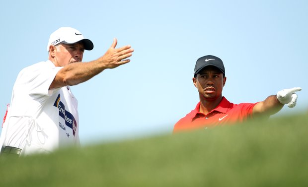Tiger Woods looks on during the final round for the 2011 Omega Dubai desert Classic held on the Majilis Course at the Emirates Golf Club on February 13, 2011 in Dubai, United Arab Emirates.