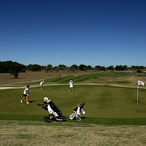 The fifth green during the second round of the UCF Challenge at Red Tail Golf Club.