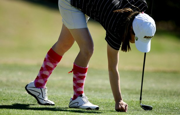 Kaylin Terry of Baylor along with her teammates on Monday wore argyle socks with red hearts, celebrating Valentine's Day.