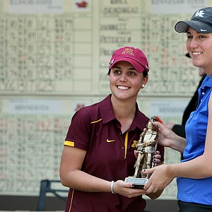 Co-medalists, Minnesota's Teresa Puga and Kentucky's Ashleigh Albrecht, right, pose with the hardware. Both players made par on the two playoff holes before the decision to have co-medalists.