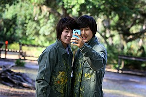LPGA players Na Yeon Choi, left, and Song Hee Kim after a paintball outing in Kissimmee, Fla.