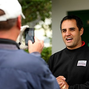 NASCAR driver Juan Pablo Montoya at a recent LPGA International golf outing. Montoya was playing in the 38th annual Daytona 500 NASCAR/Celebrity Charity Golf Classic. Montoya took time out to pose for pictures and do video recordings for his golfing partners.