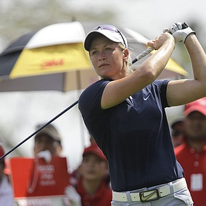 Suzann Pettersen of Norway tees off from the 9th hole during the second round of LPGA Thailand golf tournament in Pattaya, southern Thailand Friday, Feb 18, 2011.