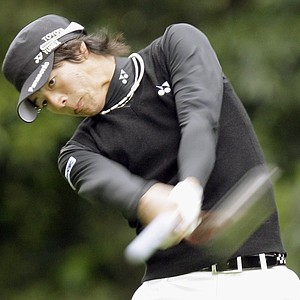 Ryo Ishikawa drives on the 12th hole during the second round of the Northern Trust Open.