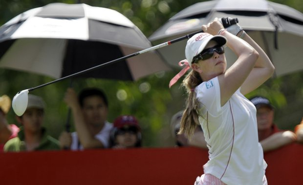 Paula Creamer tees off from the 9th hole during the final round of the LPGA Thailand golf tournament in Pattaya, southern Thailand, Sunday, Feb. 20, 2011.