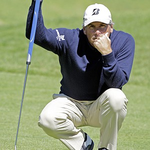 Fred Couples eyes his putt on the fourth green in the final round of the Northern Trust Open PGA golf tournament at Riviera Country Club in the Pacific Palisades area of Los Angeles, Sunday, Feb. 20, 2011.