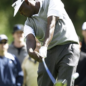 Vijay Singh, of Fiji, hits from the second tee in the final round of the Northern Trust Open PGA golf tournament at Riviera Country Club in Los Angeles on Sunday, Feb. 20, 2011.
