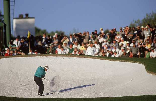 6 Apr 2000: Arnold Palmer in the bunker during the first round of the US Masters at Augusta National in Georgia, USA.