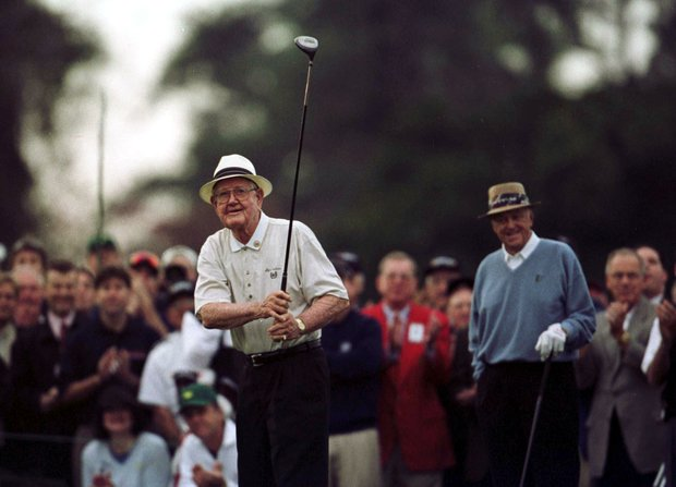 5 Apr 2001: Byron Nelson of the USA drives off on the first hole during the first day of the 2001 Masters at the Augusta National Golf Club, Augusta, GA