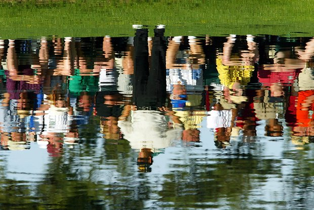 AUGUSTA, : Retief Goosen of South Africa is shown in a reflection on the 15th hole, 14 April 2002, during the final round of the 2002 Masters golf tournament at the Augusta National Golf Club in Augusta, GA. Goosen finished in second place with a four-day total of nine-under par.