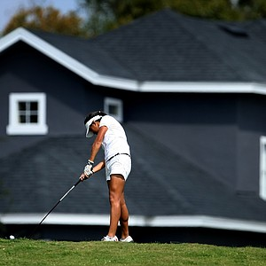 Celine Boutier hits her tee shot at No. 8 during the final round. She shot a 76.