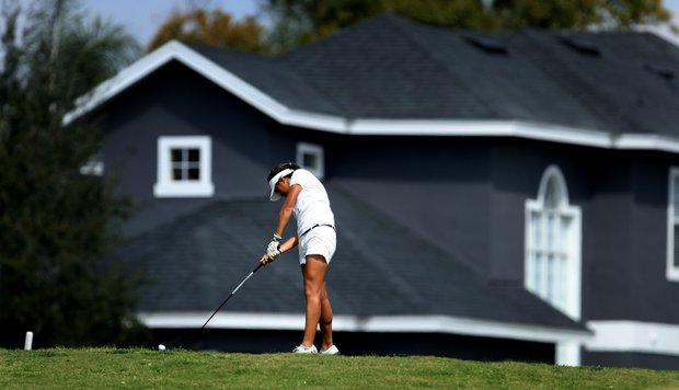 Celine Boutier hits her tee shot at No. 8 during the final round. Boutier shot a final round 76.