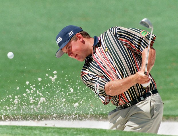 AUGUSTA, : Lee Westwood of England hits from the sand on the second hole during first round action at the 1998 Masters 09 April at Augusta National Golf Course in Augusta, GA.
