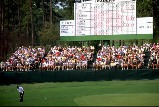 9 Apr 1999: Jose Maria Olazabal of Spain chips on to the 15th green during the 1999 US Masters at the Augusta National GC in Augusta, Georgia, USA.