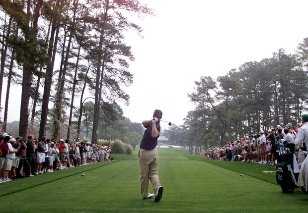 AUGUSTA, : David Duval of the US hits a tee shot off the seventh tee 07 April 1999 during the final practice round for the Masters Golf Tournament at the Augusta National Golf Club in Augusta, GA.