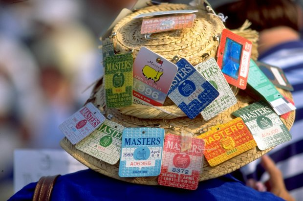 8 Apr 1999: A masters fans displays the past entry tickets of the Masters on his hat during the 1999 US Masters at the Augusta National GC in Augusta, Georgia, USA. \