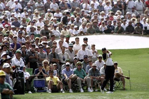 8 Apr 1999: Sergio Garcia of Spain tees off on the third, watched by the crowd during the 1999 US Masters at the Augusta National GC in Augusta, Georgia, USA.