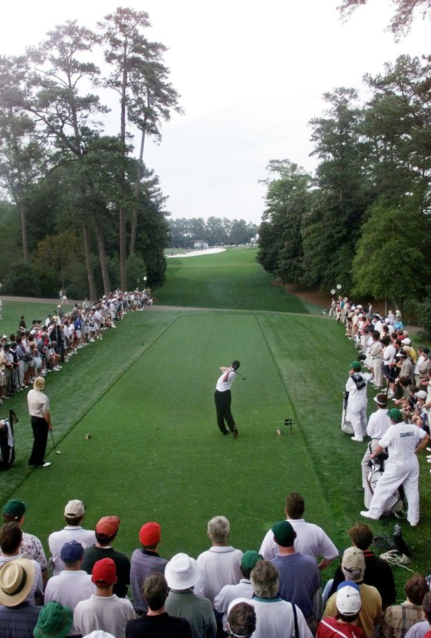 AUGUSTA, : Jose Maria Olazabal of Spain tees off on the 18th hole 09 April, 1999, during his second round at the Masters golf tournament at Augusta National Golf Club in Augusta, Georgia. Olazabal whose lone major title was won in Augusta in 1994, fired a six-under par 66 to grab the lead late in the second round of the 63rd Masters 09 April, 1999.