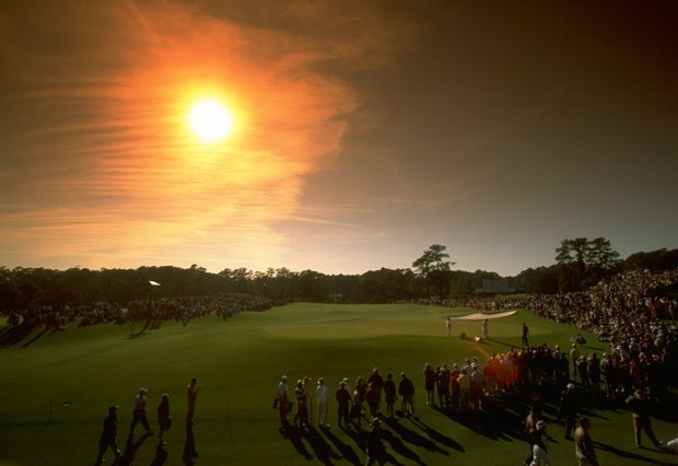 10 Apr 1997: Golf fans watch the action on the 17th green during the first day of the US Masters at Augusta, Georgia.