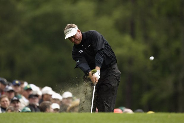 AUGUSTA, GA - APRIL 11: Darren Clarke of Northern Ireland on the 12th tee during the first round of the 2003 Masters Tournament at the Augusta National Golf Club in Augusta, Georgia on April 11, 2003.