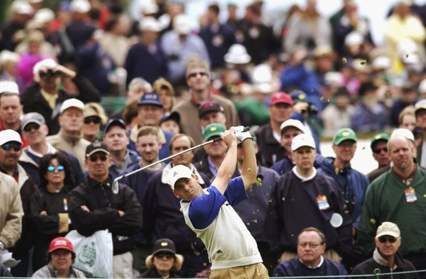 AUGUSTA, GA - APRIL 11: Sergio Garcia of Spain on the third tee during the first round of the 2003 Masters Tournament at the Augusta National Golf Club in Augusta, Georgia on April 11, 2003.