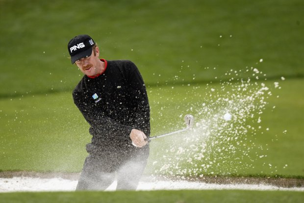 AUGUSTA, GA - APRIL 11: Miguel Angel Jimenez of Spain in the bunker on second hole during the first round of the 2003 Masters Tournament at the Augusta National Golf Club in Augusta, Georgia on April 11, 2003.