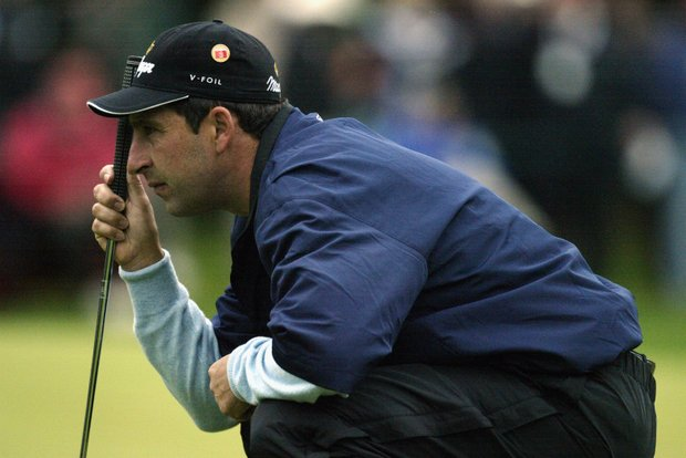 AUGUSTA, GA - APRIL 11: Jose Maria Olazabal of Spain lines up his putt on the first hole during the first round of the 2003 Masters Tournament at the Augusta National Golf Club in Augusta, Georgia on April 11, 2003.
