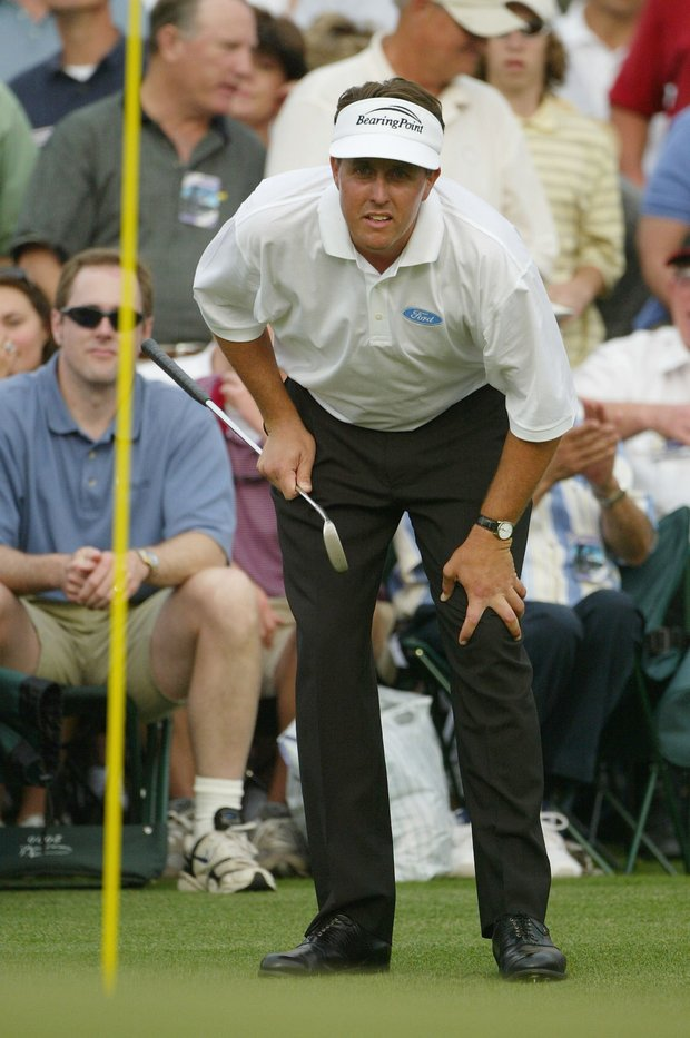 Phil Mickelson looks over the 18th green during the third round of the Masters at the Augusta National Golf Club on April 10, 2004 in Augusta, Georgia.