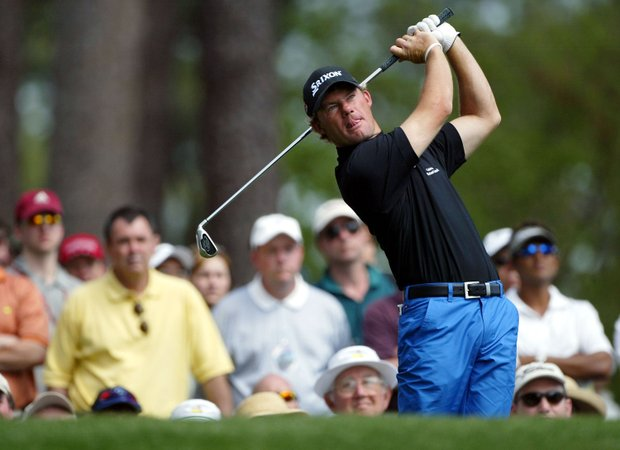 Alex Cejka of Germany plays his tee shot on the fourth tee during the third round of the Masters at the Augusta National Golf Club on April 10, 2004 in Augusta, Georgia.
