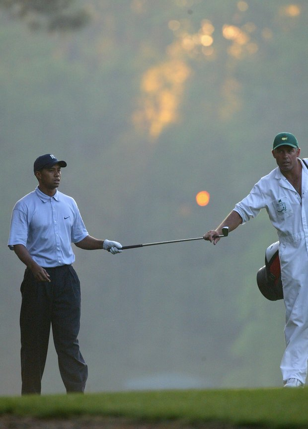 Tiger Woods with his caddie Steve Williams during the first round of the Masters at the Augusta National Golf Club on April 8, 2004 in Augusta, Georgia.