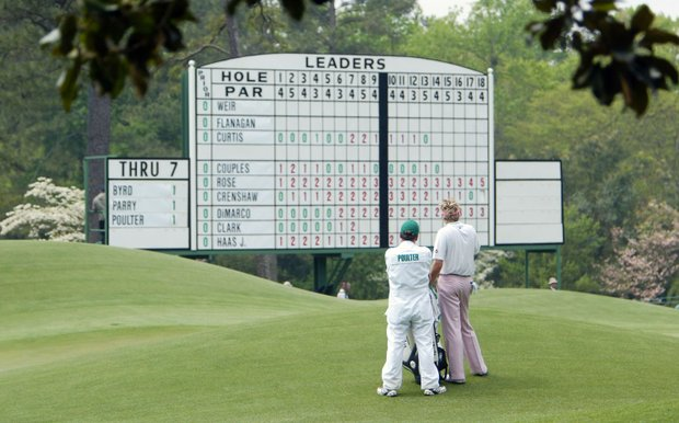 Ian Poulter of England looks at the scoreboard from the eighth green during the first round of the Masters at the Augusta National Golf Club on April 8, 2004 in Augusta, Georgia.