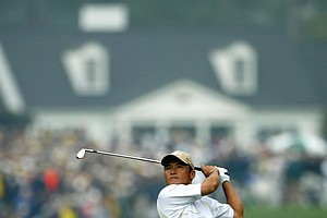 Shigeki Maruyama of Japan plays his second shot on the first hole during the first round of the Masters at the Augusta National Golf Club on April 8, 2004 in Augusta, Georgia.