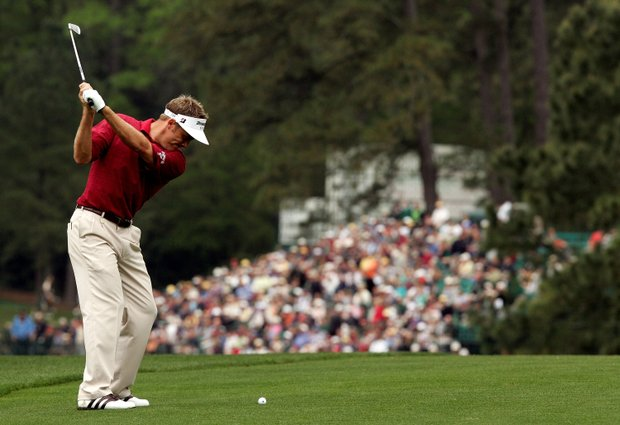 Stuart Appleby of Australia hits his second shot on the 15th hole during the first round of The Masters at the Augusta National Golf Club on April 8, 2005 in Augusta, Georgia.