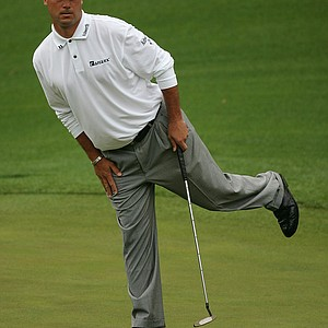 Chris DiMarco urges a putt to drop on the eighth green during the first round The Masters at the Augusta National Golf Club on April 8, 2005 in Augusta, Georgia.