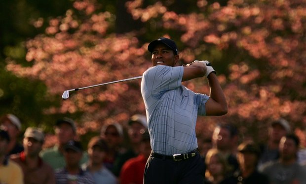 Tiger Woods watches his approach shot on the second hole during the third round of The Masters at the Augusta National Golf Club on April 9, 2005 in Augusta, Georgia.