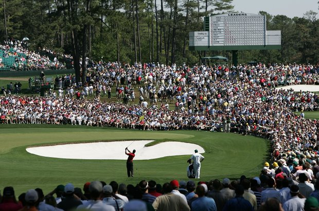 Tiger Woods hits his approach shot on the second hole during the final round of The Masters at the Augusta National Golf Club on April 10, 2005 in Augusta, Georgia.