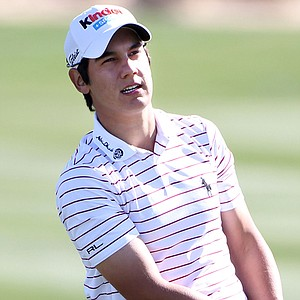 Matteo Manassero watches his shot on the second hole during the first round of the Accenture Match Play Championship.