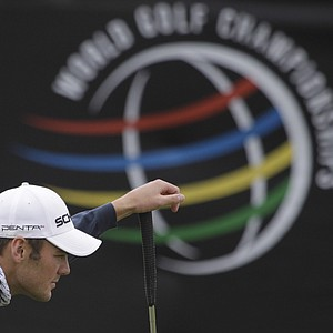 Martin Kaymer of Germany lines up a putt on 13 while playing Bubba Watson during the semifinals of the Match Play Championship golf tournament Saturday, Feb. 26, 2011, in Marana, Ariz.