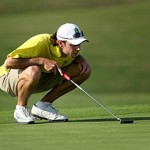 Max Fischer of Lancer University lines up a putt at No. 15.
