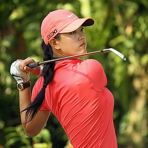 Michelle Wie of the USA hits her tee shot on the 14th hole during the final round of the HSBC Women's Champions 2011 at the Tanah Merah Country Club on February 27, 2011 in Singapore, Singapore.