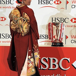 Paula Creamer poses in a traditional Japanese kimono after a press conference ahead of this week's HSBC Women's Champions golf tournament in Singapore on February 22, 2011. The tournament takes place February 24-27.