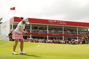 Chie Arimura of Japan during the final round of the HSBC Women's Champions at Tanah Merah Country Club on February 27, 2011 in Singapore, Singapore.